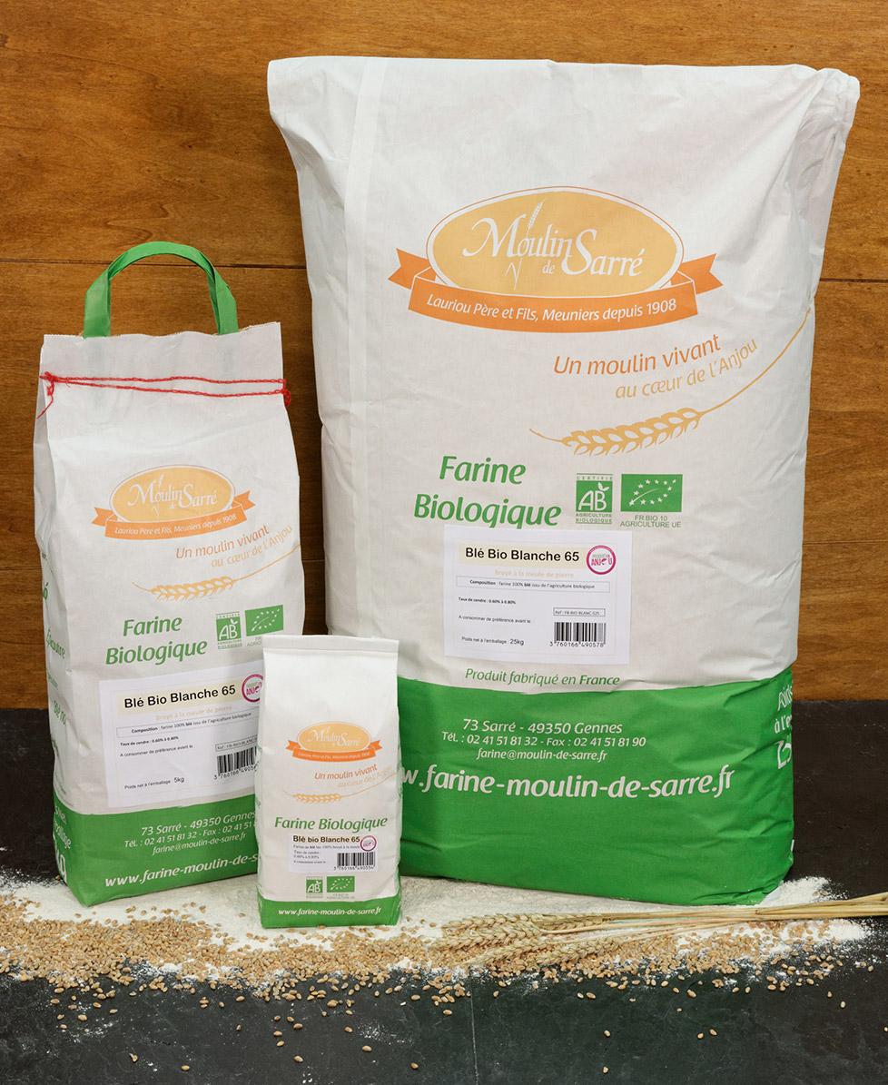 Farine de blé biologique banche 65