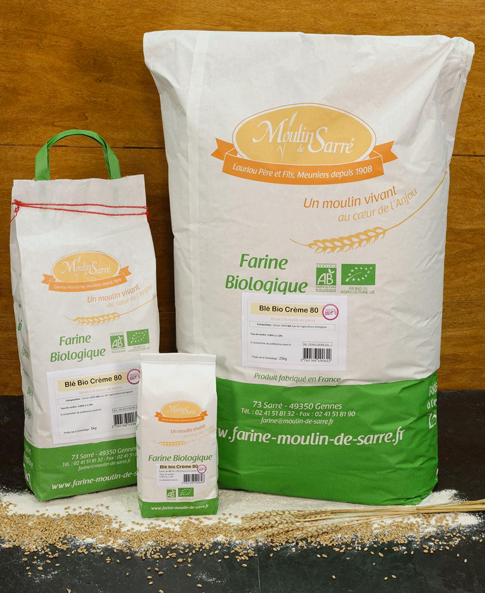Farine de blé biologique crème 80